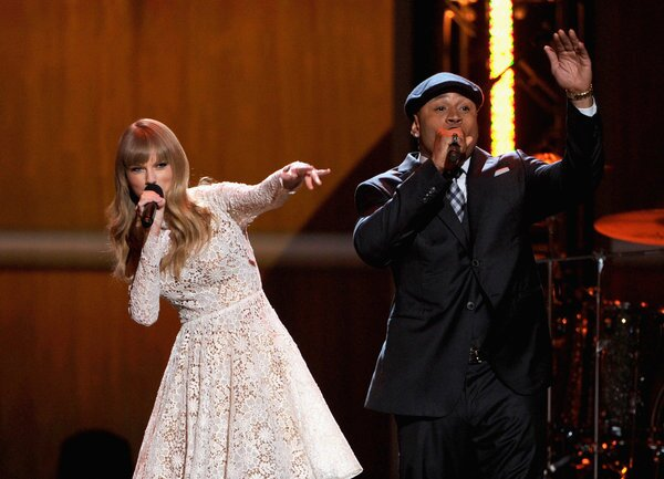 Taylor Swift beatboxes while LL Cool J sings