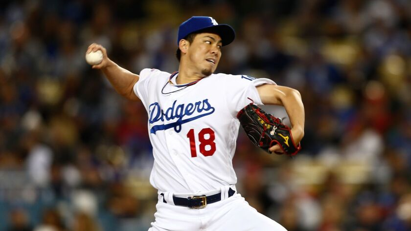 LOS ANGELES, CALIF. - APRIL 16: Los Angeles Dodgers starting pitcher Kenta Maeda (18) pitches agains