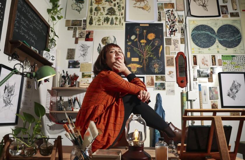 Artist Mary Juhn in her studio in Barrio Logan