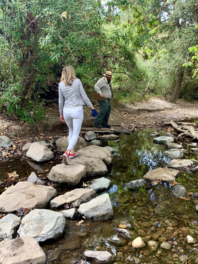 Supervisor Kristin Gaspar takes on the trail at Los Penasquitos Canyon Preserve.
