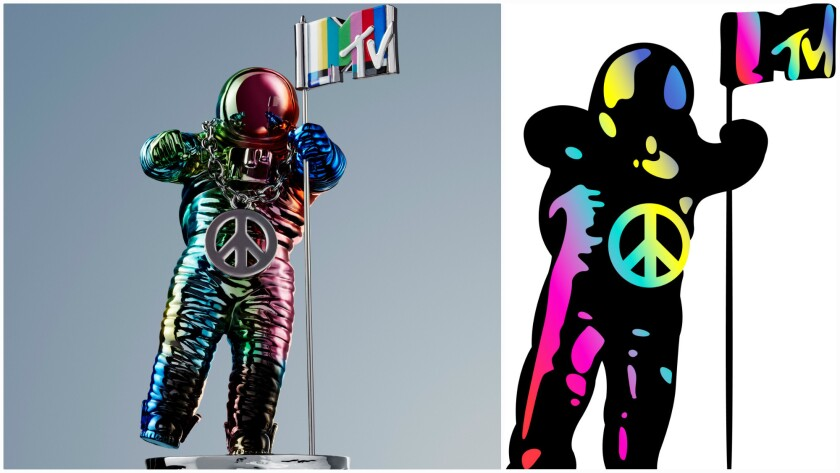 The Jeremy Scott redesigned MTV Moonman statuette, at left, was revealed Aug. 17. An emoji version, at right, was announced Aug. 24. It will appear whenever fans include the hashtag #VMA or #VMAs in a Twitter post.