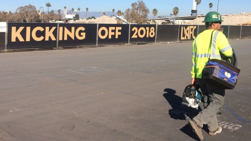 Workers have 16 months to finish Banc of California Stadium before LAFC's 2018 opener. The stadium is on the site of the Sports Arena.