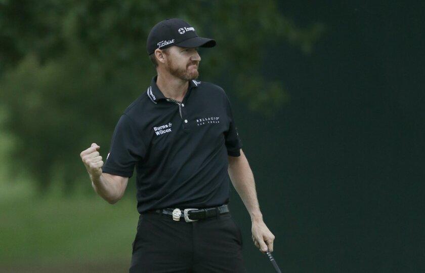 Jimmy Walker reacts after winning the PGA Championship golf tournament at Baltusrol Golf Club in Springfield, N.J., Sunday, July 31, 2016. (AP Photo/Mike Groll)