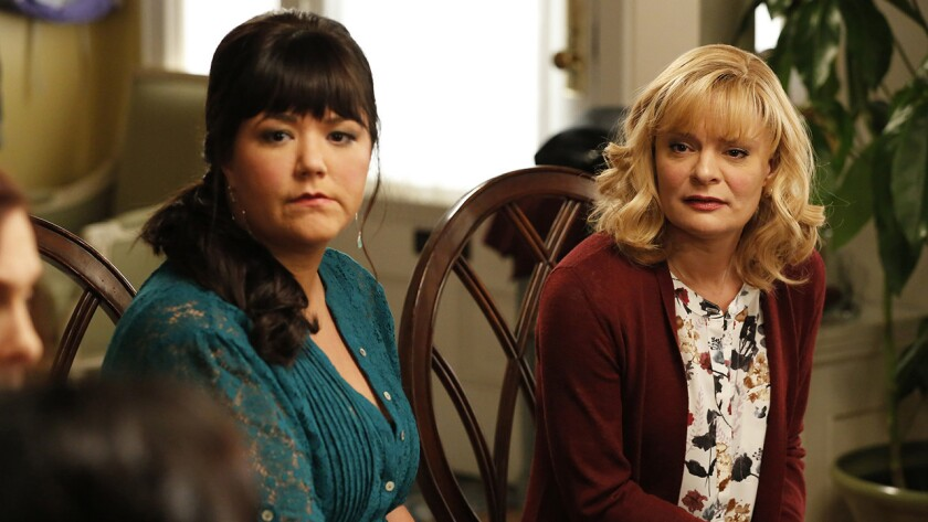 "Mary Hollis Inboden, left, and Martha Plimpton in ""The Real O'Neals"" on ABC."