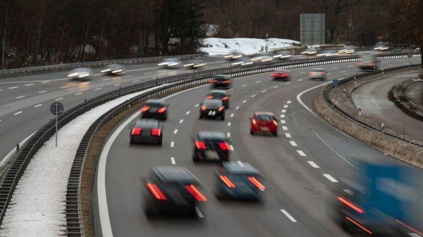 Traffic moves along the German motorway A95 near Munich on Jan. 27.
