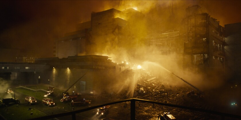 "A scene of the destruction and containment efforts from the HBO limited series ""Chernobyl."""