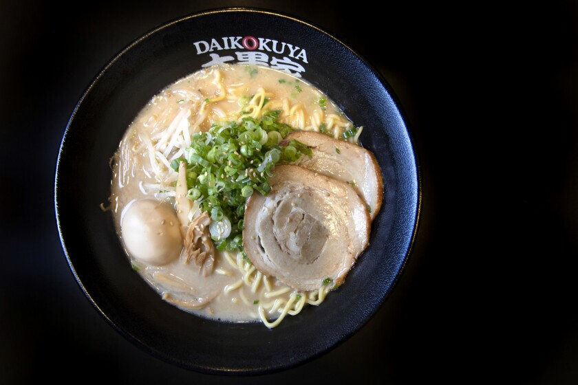 LOS ANGELES, CALIFORNIA - OCTOBER 18, 2018: The Daikoku Ramen with the tonkotsu soup base at Daikoku