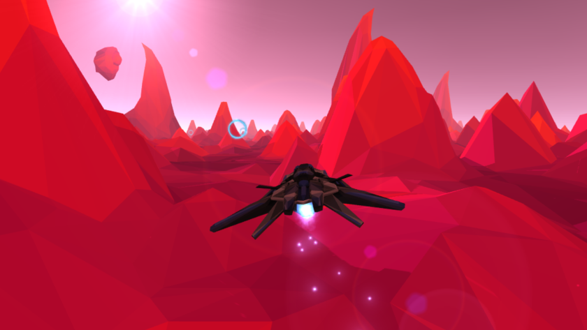 A screenshot from Lucid Sight's PolyRunner VR game, which is to be played on devices such as the Oculus Rift that surround players' visual field.