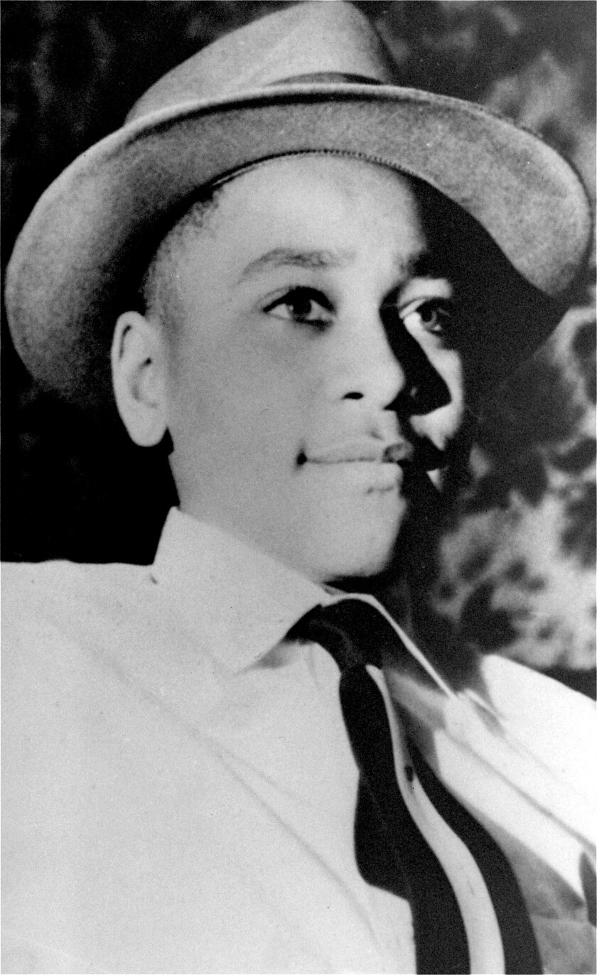 FILE - This undated portrait shows Emmett Till. The government is still investigating the brutal slaying of the black teenager that helped spur the civil rights movement more than 60 years ago. A Justice Department report issued to Congress about civil rights cold case investigations lists the 1955 slaying of 14-year-old Till as being among the unit's active cases. Till, who was from Chicago, was abducted and beaten to death hours after he whistled at a white woman while visiting Mississippi. His body was found in a river days later. (AP Photo/File)