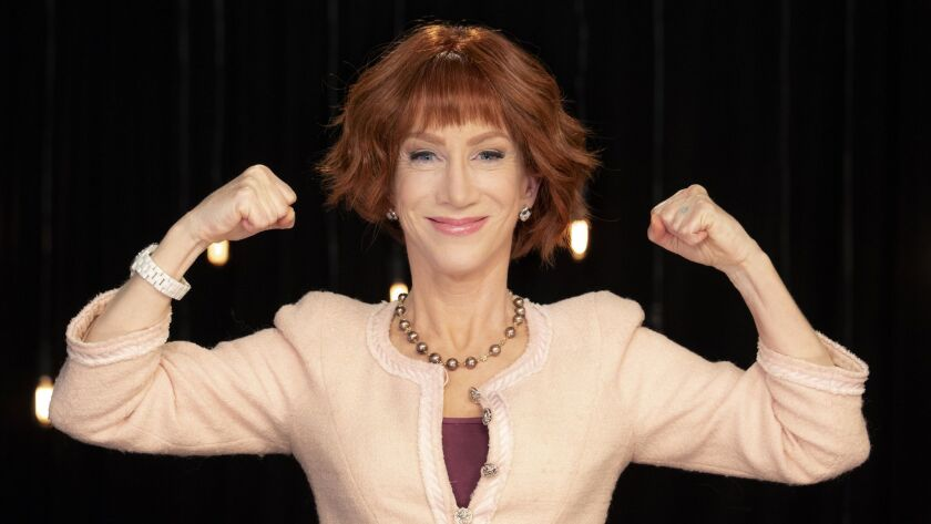 Comedian Kathy Griffin, shown at Live Nation studio in June, is back on the road after generating controversy over a photo stunt.
