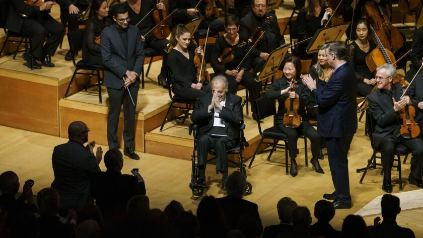 LOS ANGELES, CALIF. -- THURSDAY, JANUARY 3, 2019: Zubin Mehta shows his appreciation to the crowd as