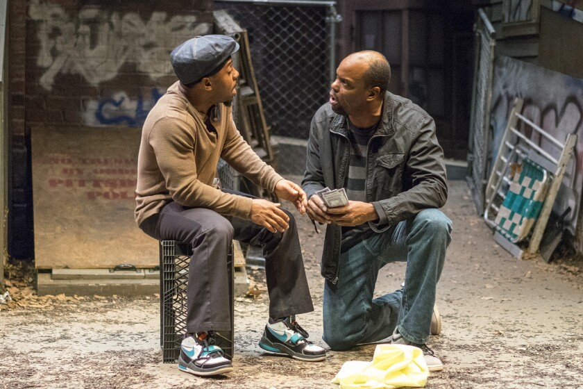 "Ro Boddie (left) and Laurence Brown in Cygnet Theatre's ""King Hedley II."""