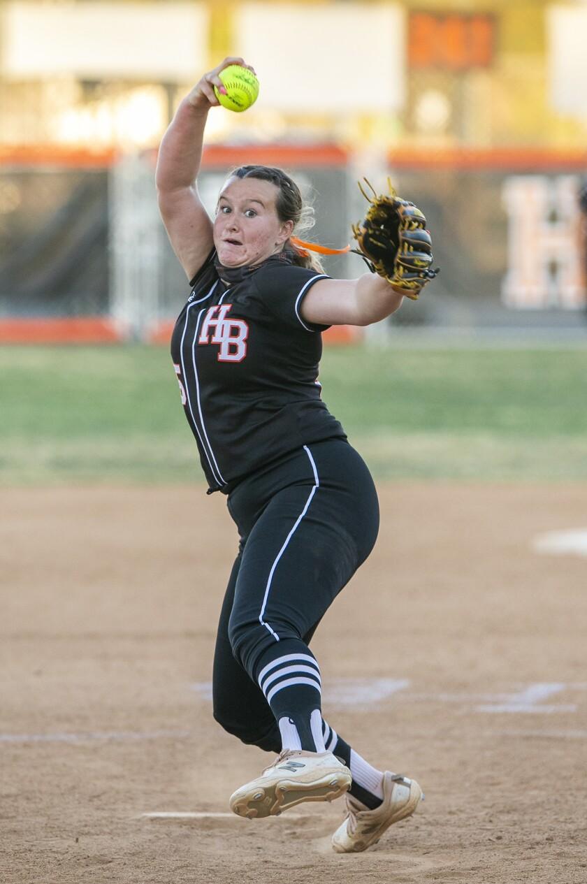 Huntington Beach's Devyn Greer pitches against Marina