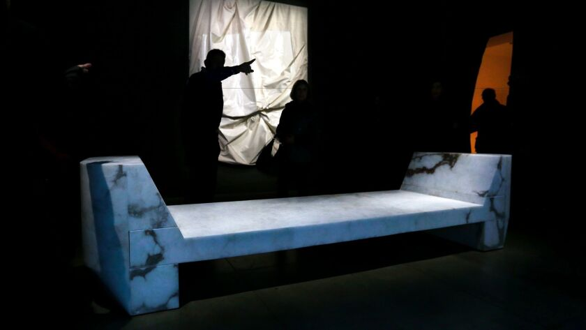 """An alabaster bench gets a spotlight at the opening of """"Rick Owens: Furniture."""""""
