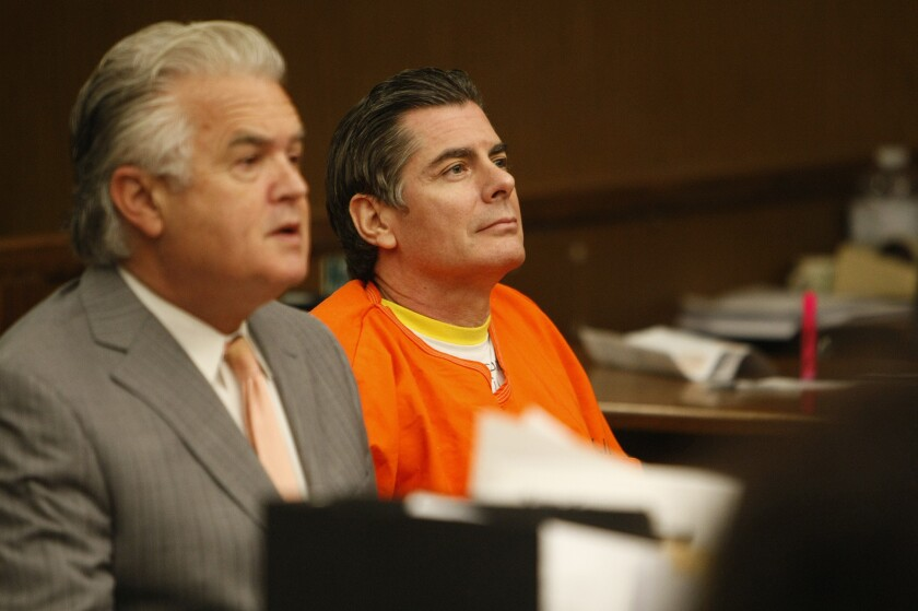 Anthony Brooklier, left, with client Dino Guglielmelli, who pleaded no contest to attempted murder for trying to hire a business associate to kill his wife.