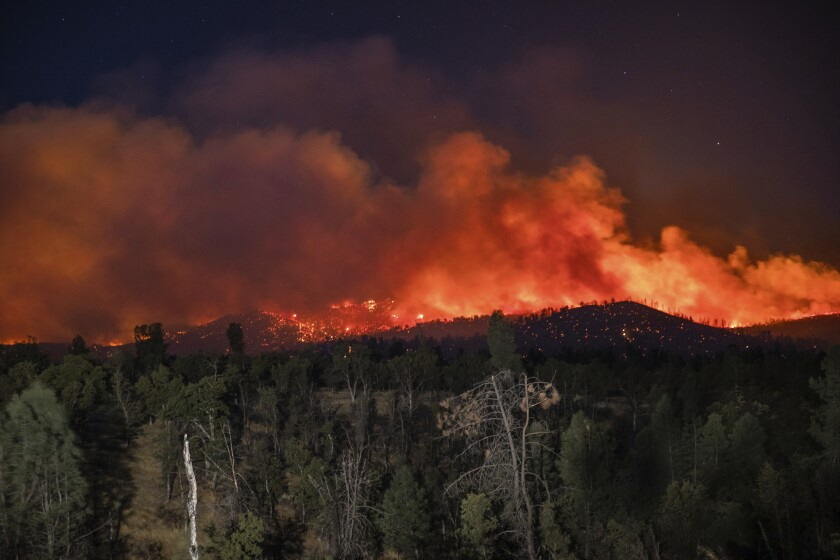 Orange flames cover a distant hillside at night