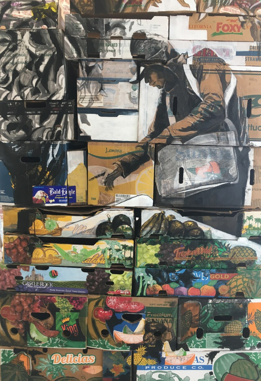 """One side of artist Narsiso Martinez's """"Friends in Freshness,"""" a 3-D display depicting the plight of farmworkers in America."""