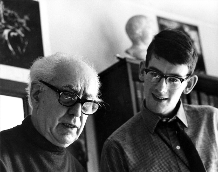 Director Abel Gance (left), director of the legendary epic NAPOLEON, with Kevin Brownlow, 1967. Mr.