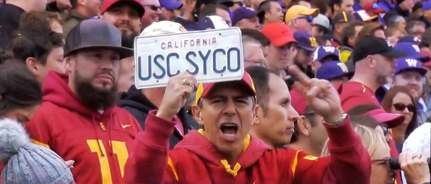 """Roy Nwaisser, a.k.a. """"USC Psycho,"""" at the USC-Washington game in Seattle. Nwaisser is a USC graduate and has attended every home and away USC football game since his senior year."""
