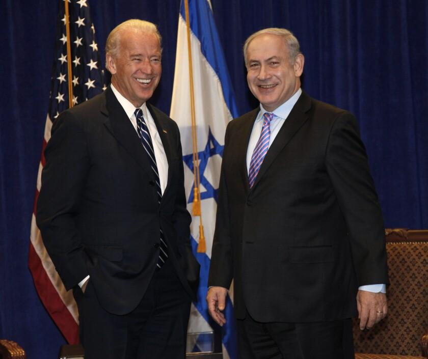 Then-Vice President Joe Biden meets with Israeli Prime Minister Benjamin Netanyahu in 2010