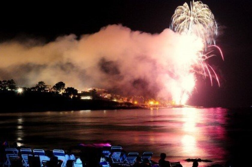 The La Jolla Cove fireworks are seen from La Jolla Shores in this photo from 2011. Greg Wiest