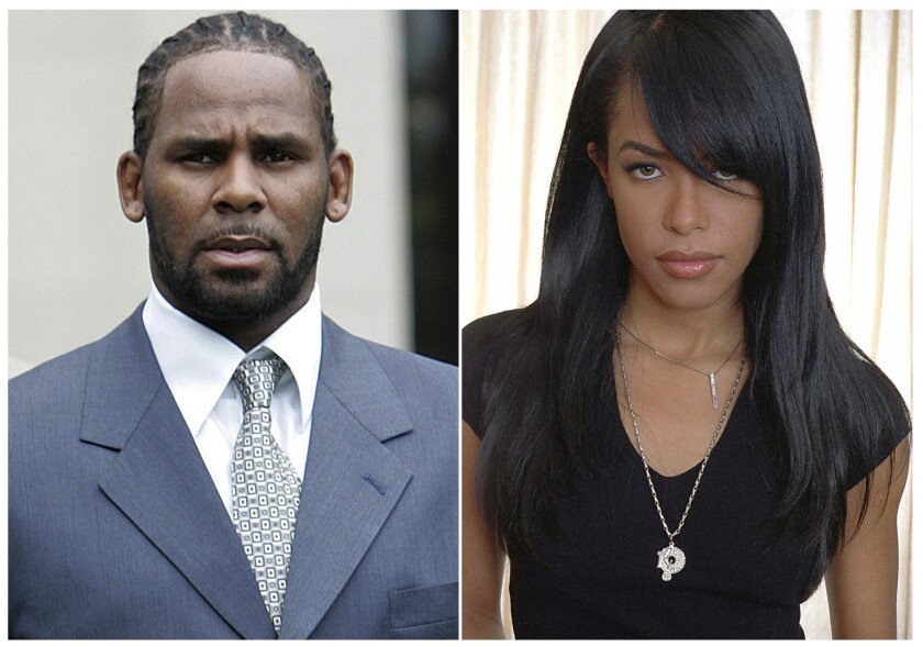 Singer R. Kelly, left, and R&B singer and actress Aaliyah.