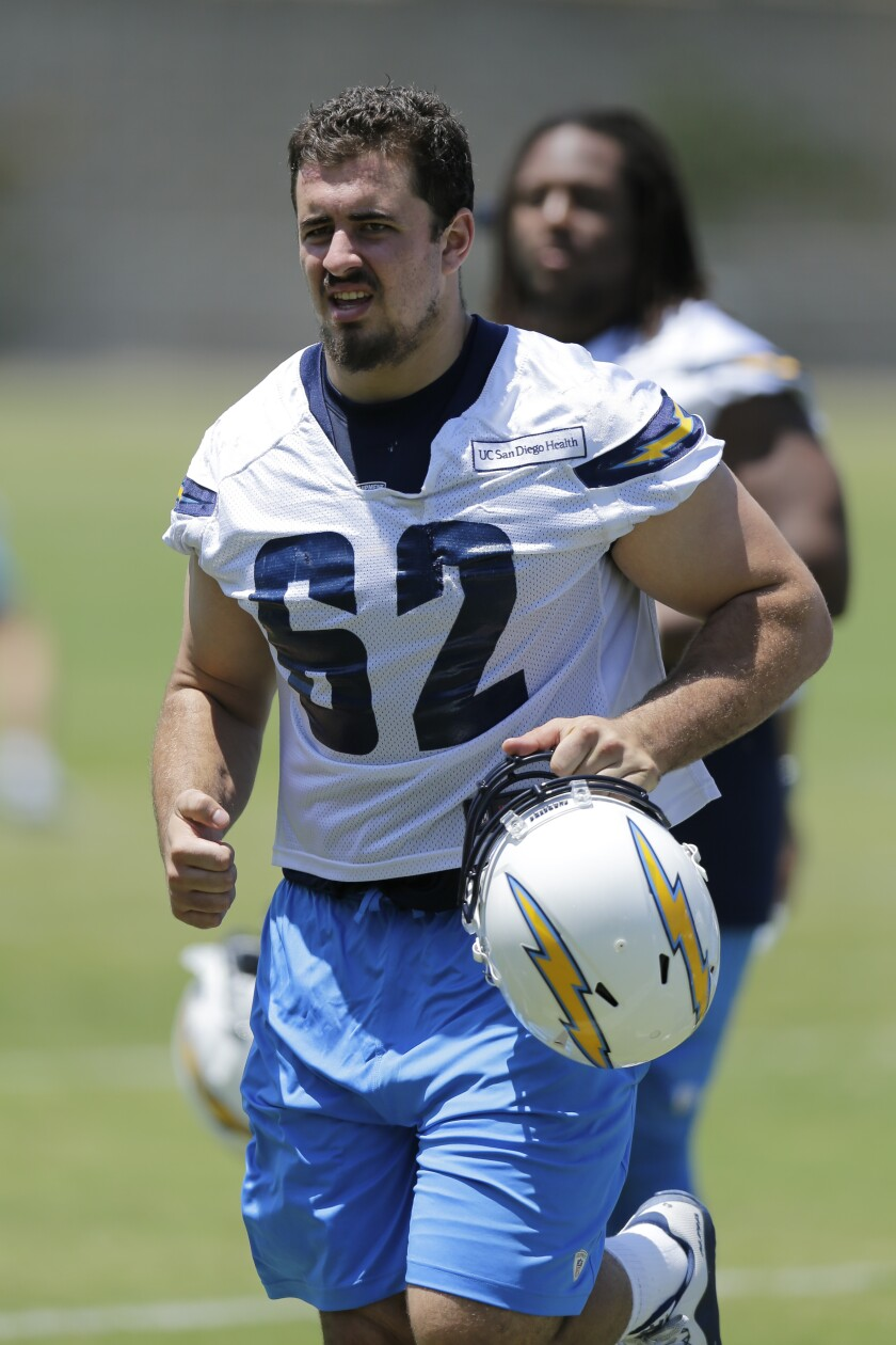 Chargers' center Max Tuerk trains during rookie training camp on May 13, 2016, in San Diego.