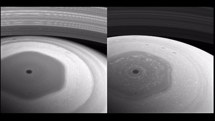 Saturn's hexagon, as seen through different spectral filters.