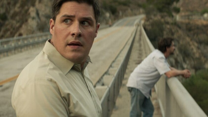 """Rich Sommer, left, and Clifton Collins Jr. in the movie """"A Crooked Somebody."""""""