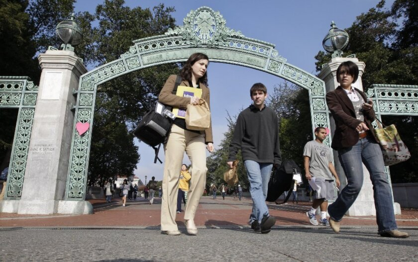 In 2012, the chancellor of UC Berkeley was paid less than $540,000. Above, UC Berkeley's Sather Gate is seen in 2011.