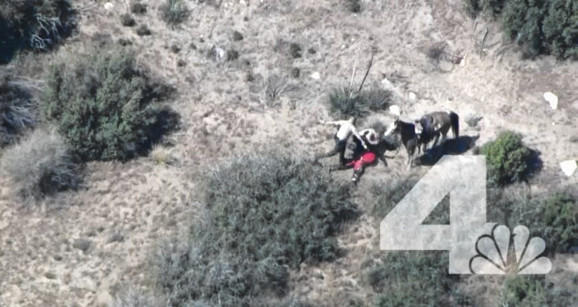 San Bernardino County sheriff's deputies beat and kick Francis Pusok on April 9 near Apple Valley after Pusok fled from them in a car and on horseback.