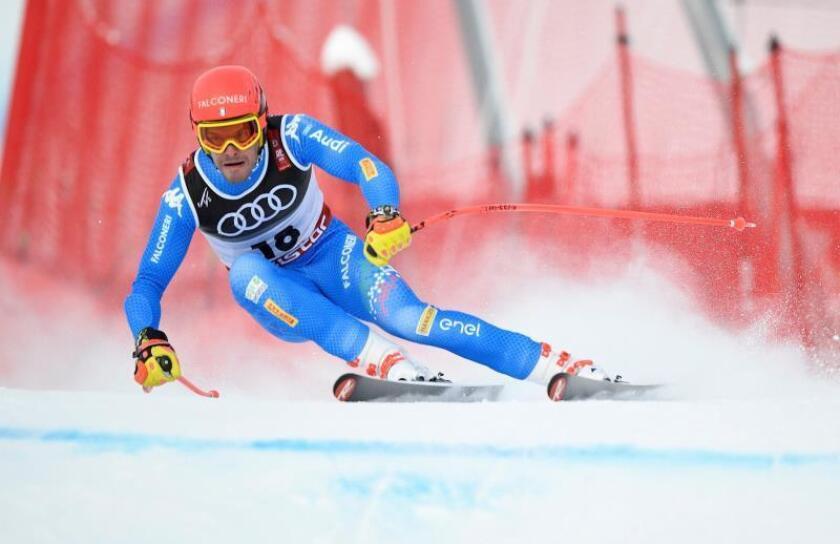 El esquiador italiano Christof Innerhofer compite, este miércoles, en el Super G masculino del Campeonato del Mundo de Esquí Alpino en Are (Suecia). EFE
