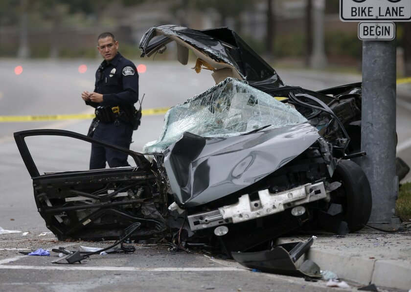 One person died and another was injured in a one-car traffic accident last July in Fullerton. A surge in traffic deaths in 2016 has perplexed experts, who can't provide a reason for the trend.