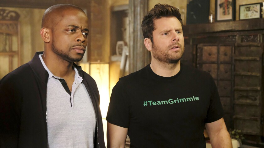 """Dule Hill, left, and James Roday in """"Psych: The Movie,"""" a made-for-TV sequel to the long-running faux-psychic detective series, on USA."""