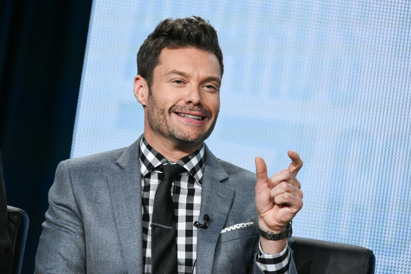 """Ryan Seacrest speaks on stage during the """"American Idol"""" panel at the Fox 2015 Winter TCA on Saturday, Jan. 17, 2015, in Pasadena, Calif. (Photo by Richard Shotwell/Invision/AP)"""