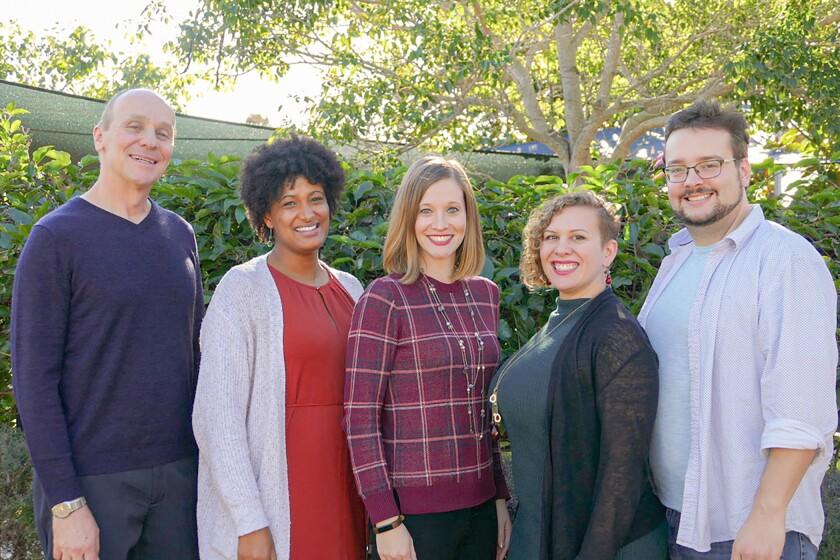 Singers Myles Mayfield, Danielle Perrault, Katie Colleen Hickey, Elly Roseberry, Aaron Bullard