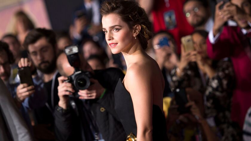 Actress Emma Watson at the world premiere of Disney's Beauty and the Beast at El Capitan Theatre in Hollywood.
