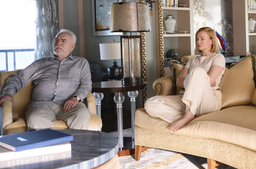 "Brian Cox as Logan and Sarah Snook as Shiv in ""Succession."""