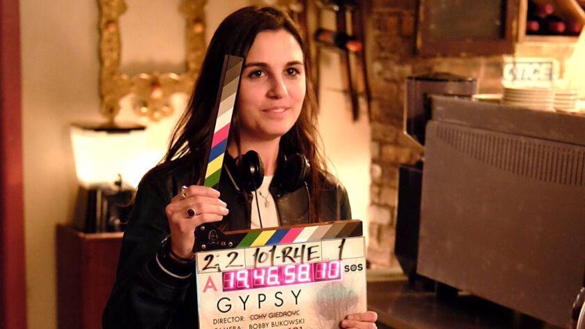 """Lisa Rubin on the set of """"Gypsy."""""""
