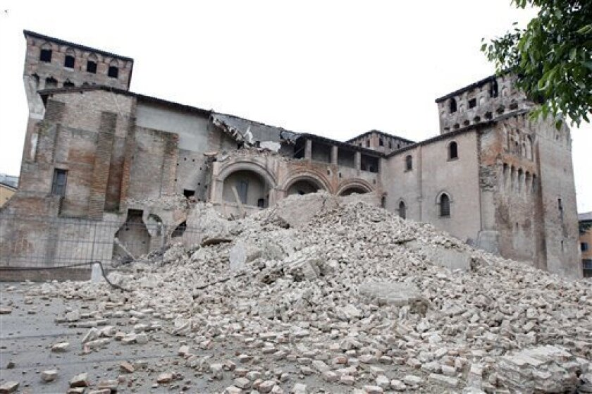 The crumbling wreck of the Rocca Estense in Finale Emilia, in northern Italy, Sunday, May 20, 2012. A magnitude-6.0 earthquake shook northern Italy early Sunday, killing at least three people and toppling some buildings, emergency services and news reports said. The quake struck at 4:04 a.m. Sunday