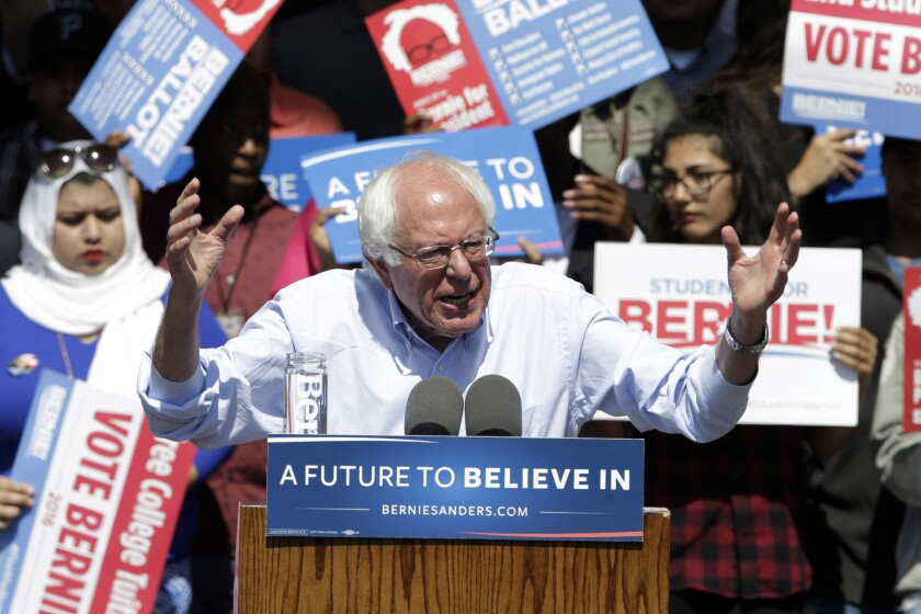 Democratic presidential candidate Bernie Sanders speaks at a campaign rally in Stockton, Calif., on West Virginia primary day.