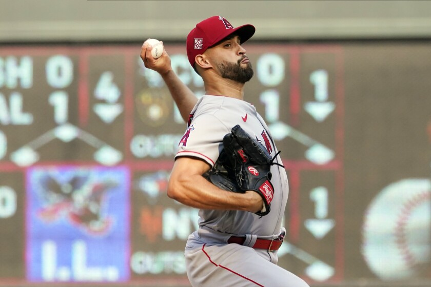 Los Angeles Angels pitcher Patrick Sandoval throws against the Minnesota Twins during a baseball game, Saturday, July 24, 2021, in Minneapolis. (AP Photo/Jim Mone)