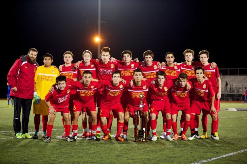 Congratulations to coaches Evan McNeley, Garth Archibald and the Cathedral Catholic High School boys JV soccer team, who were the North County Inland Invitational champions for their second consecutive year!