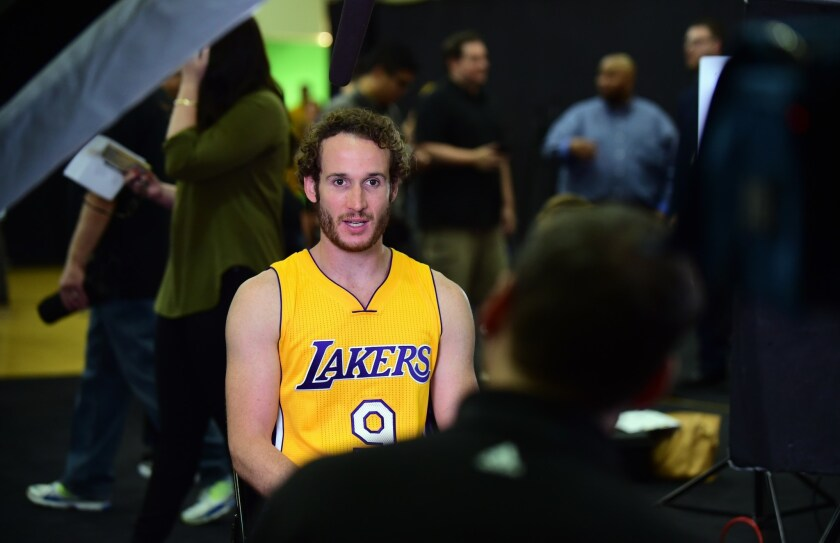 Marcelo Huertas, pictured at the Los Angeles Lakers media day, has already made a slew of smooth passes in preseason games.