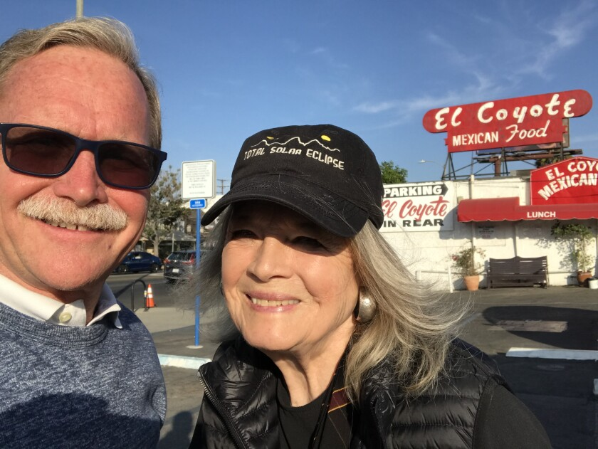 Chris Erskine and Angie Dickinson after lunch at El Coyote.