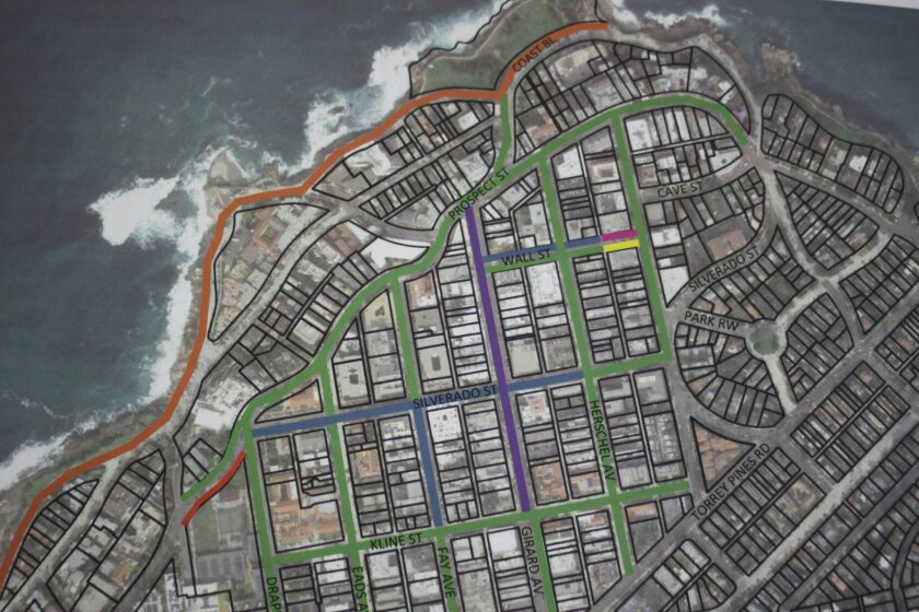 This map illustrates La Jolla's various parking zones with the varying time-limits indicated by differently colored lines, as presented by Deborah Marengo.