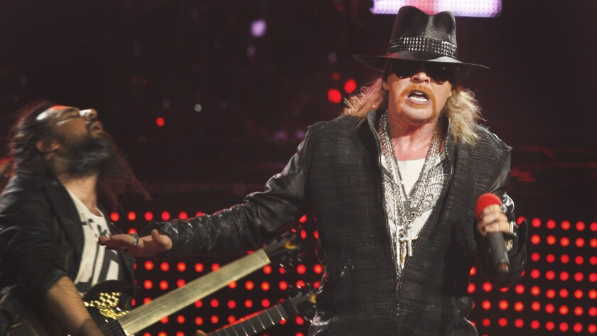 Guns N' Roses lead singer Axl Rose performs with his band in Seattle on Dec. 17, 2011.
