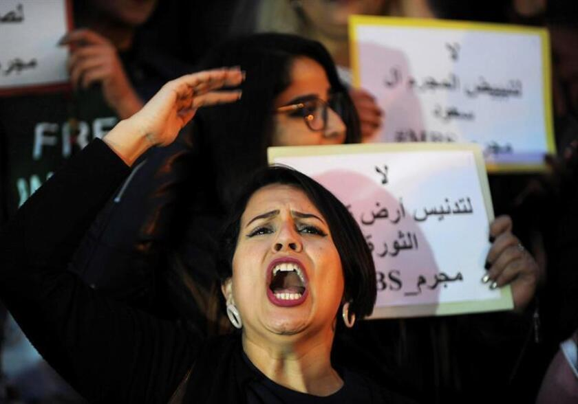 Protesters shout slogans and hold placards against the visit of Saudi Crown Prince Mohammed bin Salman during a protest in Tunis, Tunisia, 26 November 2018. According to reports, activists from rights groups organized a protest against the planned visit of Saudi Crown Prince Mohammed bin Salman, aka MbS. Saudi Crown Prince is expected to visit Tunisia on 27 November as part of a regional tour, the first since the murder of Saudi journalist Jamal Khashoggi. EPA-EFE/STRINGER