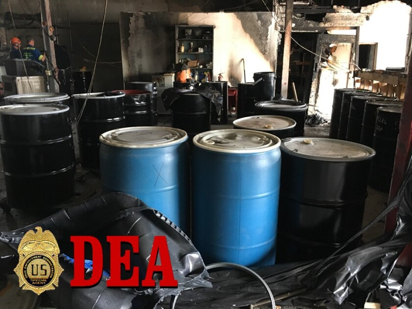 El Cajon hash oil fire 55 Gallon Drums of Hexane.jpg