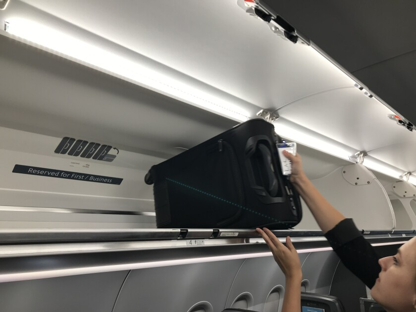 Airplane luggage bin